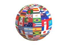 Drapeaux internationaux du monde de globe, rendu 3D Images stock