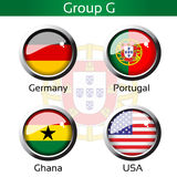 Drapeaux - le football Brésil, groupe G - l'Allemagne, Portugal, Ghana, Etats-Unis Image stock