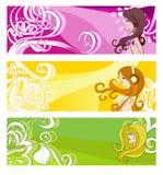 Drapeaux lumineux avec les éléments et les femmes floraux Image stock