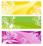 Drapeaux lumineux avec les éléments floraux Image libre de droits