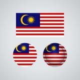 Drapeaux malaisiens de trio, illustration illustration de vecteur