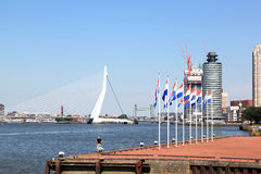 Drapeaux néerlandais le long de rivière de Nieuwe Maas, Rotterdam, Hollande Photo stock