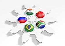 Drapeaux nationaux de membres de Brics Photos stock