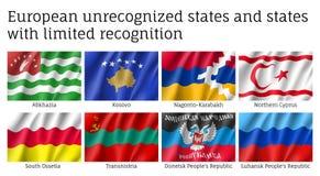 Drapeaux non reconnus et illimités européens d'états de reconnaissance réglés illustration libre de droits
