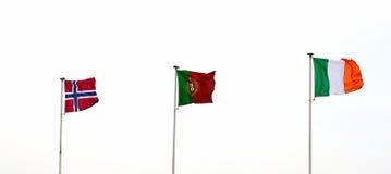 Drapeaux norvégiens, portugais et italiens Photographie stock