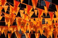 Drapeaux oranges Photo libre de droits
