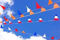 Drapeaux oranges, célébrant le jour de rois aux Pays-Bas Images libres de droits