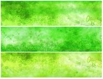 Drapeaux ou en-têtes grunges acides verts Photographie stock libre de droits