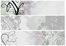 Drapeaux ou en-têtes grunges floraux Image libre de droits