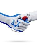Drapeaux pays d'Israël, Corée du Sud, concept de poignée de main d'amitié d'association Image stock