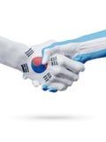 Drapeaux pays de Corée du Sud, Argentine, concept de poignée de main d'amitié d'association Photographie stock libre de droits