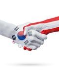 Drapeaux pays de Corée du Sud, Autriche, concept de poignée de main d'amitié d'association Photographie stock libre de droits