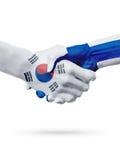 Drapeaux pays de Corée du Sud, Finlande, concept de poignée de main d'amitié d'association Photo libre de droits