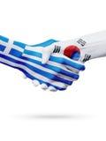 Drapeaux pays de Grèce, Corée du Sud, concept de poignée de main d'amitié d'association Images stock
