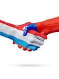 Drapeaux pays de luxembourgeois, Taïwan, concept de poignée de main d'amitié d'association Image stock