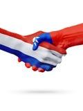 Drapeaux pays de Pays-Bas, Taïwan, concept de poignée de main d'amitié d'association Images libres de droits