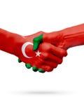 Drapeaux pays de république turque, Portugal, concept de poignée de main d'amitié d'association Image stock