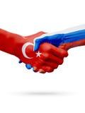 Drapeaux pays de république turque, Russie, concept de poignée de main d'amitié d'association Photos libres de droits
