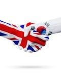 Drapeaux pays de Royaume-Uni, Corée du Sud, concept de poignée de main d'amitié d'association Photo stock