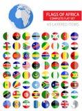 Drapeaux plats ronds d'ensemble complet de l'Afrique Photo libre de droits