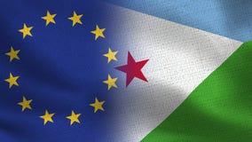 Drapeaux réalistes d'UE et de Djibouti demi ensemble photographie stock