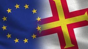 Drapeaux réalistes d'UE et de Guernesey demi ensemble image libre de droits