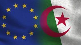 Drapeaux réalistes d'UE et de l'Algérie demi ensemble illustration de vecteur