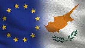 Drapeaux réalistes d'UE et de la Chypre demi ensemble illustration stock