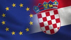 Drapeaux réalistes d'UE et de la Croatie demi ensemble illustration de vecteur