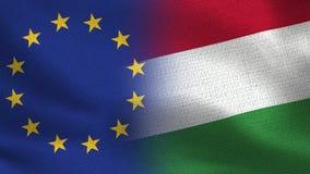 Drapeaux réalistes d'UE et de la Hongrie demi ensemble illustration de vecteur