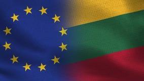 Drapeaux réalistes d'UE et de la Lithuanie demi ensemble photos stock