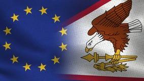 Drapeaux réalistes d'UE et des Samoa américaines demi ensemble illustration stock
