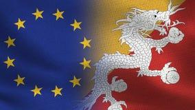 Drapeaux réalistes d'UE et du Bhutan demi ensemble illustration de vecteur