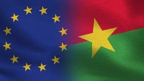 Drapeaux réalistes d'UE et du Burkina Faso demi ensemble illustration libre de droits