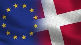 Drapeaux réalistes d'UE et du Danemark demi ensemble illustration libre de droits