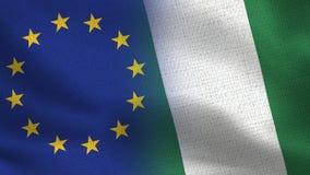 Drapeaux réalistes d'UE et du Nauru demi ensemble photo libre de droits