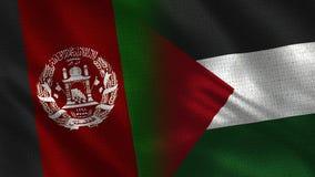 Drapeaux réalistes de l'Afghanistan et de la Palestine demi ensemble illustration stock