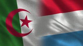 Drapeaux réalistes de l'Algérie et du luxembourgeois demi ensemble illustration stock