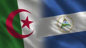 Drapeaux réalistes de l'Algérie et du Nicaragua demi ensemble illustration stock