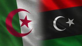Drapeaux réalistes de l'Algérie et de la Libye demi ensemble illustration de vecteur