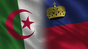 Drapeaux réalistes de l'Algérie et de la Liechtenstein demi ensemble illustration libre de droits