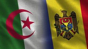 Drapeaux réalistes de l'Algérie et de Moldau demi ensemble illustration de vecteur