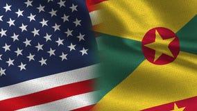 Drapeaux réalistes des Etats-Unis Grenada demi ensemble illustration stock