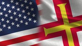 Drapeaux réalistes des Etats-Unis Guernesey demi ensemble illustration libre de droits