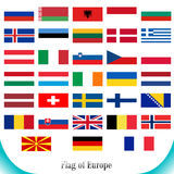 Drapeaux réglés de l'Europe Images stock