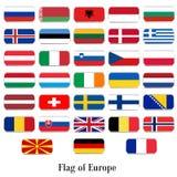 Drapeaux réglés de l'Europe Photos libres de droits