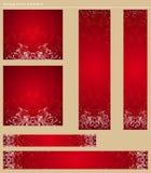 Drapeaux rouges de Noël, vecteur Photo libre de droits