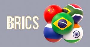 Drapeaux sphériques de BRICS, forme de groupe, conduite du Brésil image stock
