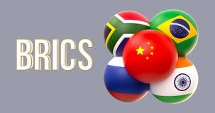 Drapeaux sphériques de BRICS, forme de groupe, conduite de la Chine photos libres de droits
