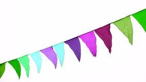 Drapeaux triangulaires colorés ondulant dans le vent, décoration pour les vacances, extérieure banque de vidéos